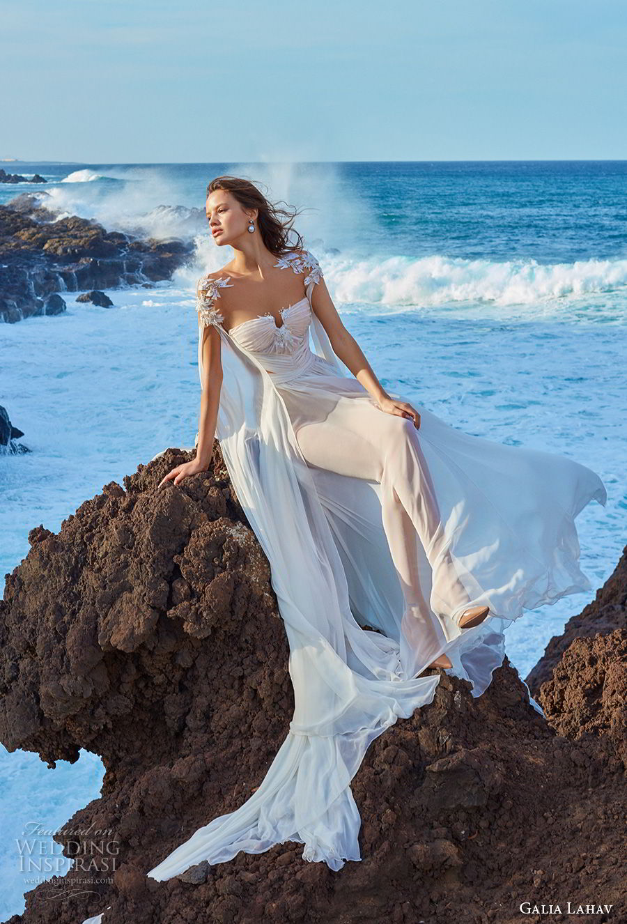 galia lahav gala 2018 bridal hanging sleeves sweetheart neckline ruched bodice romantic grecian soft a  line wedding dress chapel train (1) mv