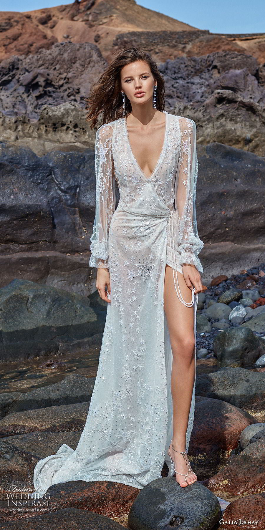 galia lahav gala 2018 bridal long bishop sleeves deep v neck full embellishment high slit skirt sexy soft a  line wedding dress v back sweep train (10) mv