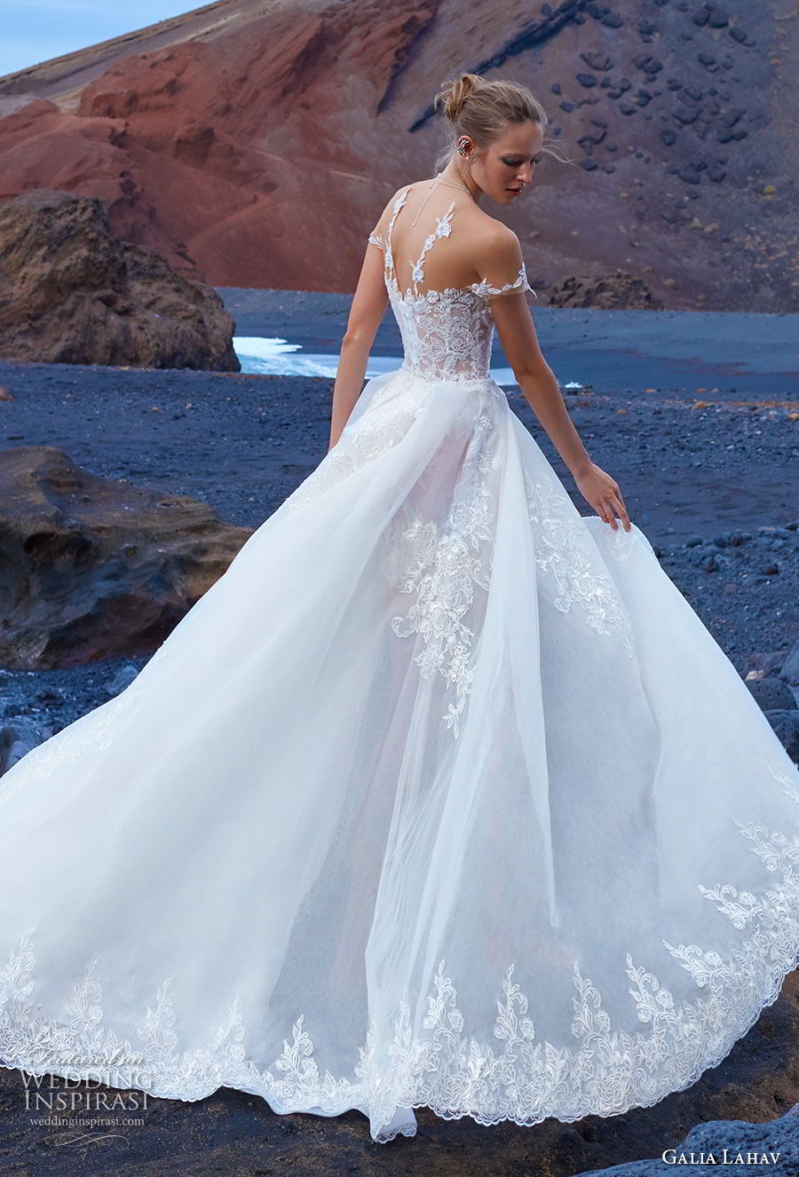 galia lahav gala 2018 bridal off shoulder illusion jewel sweetheart neckline heavily embellished bodice a  line wedding dress overskirt chapel train (9) bv