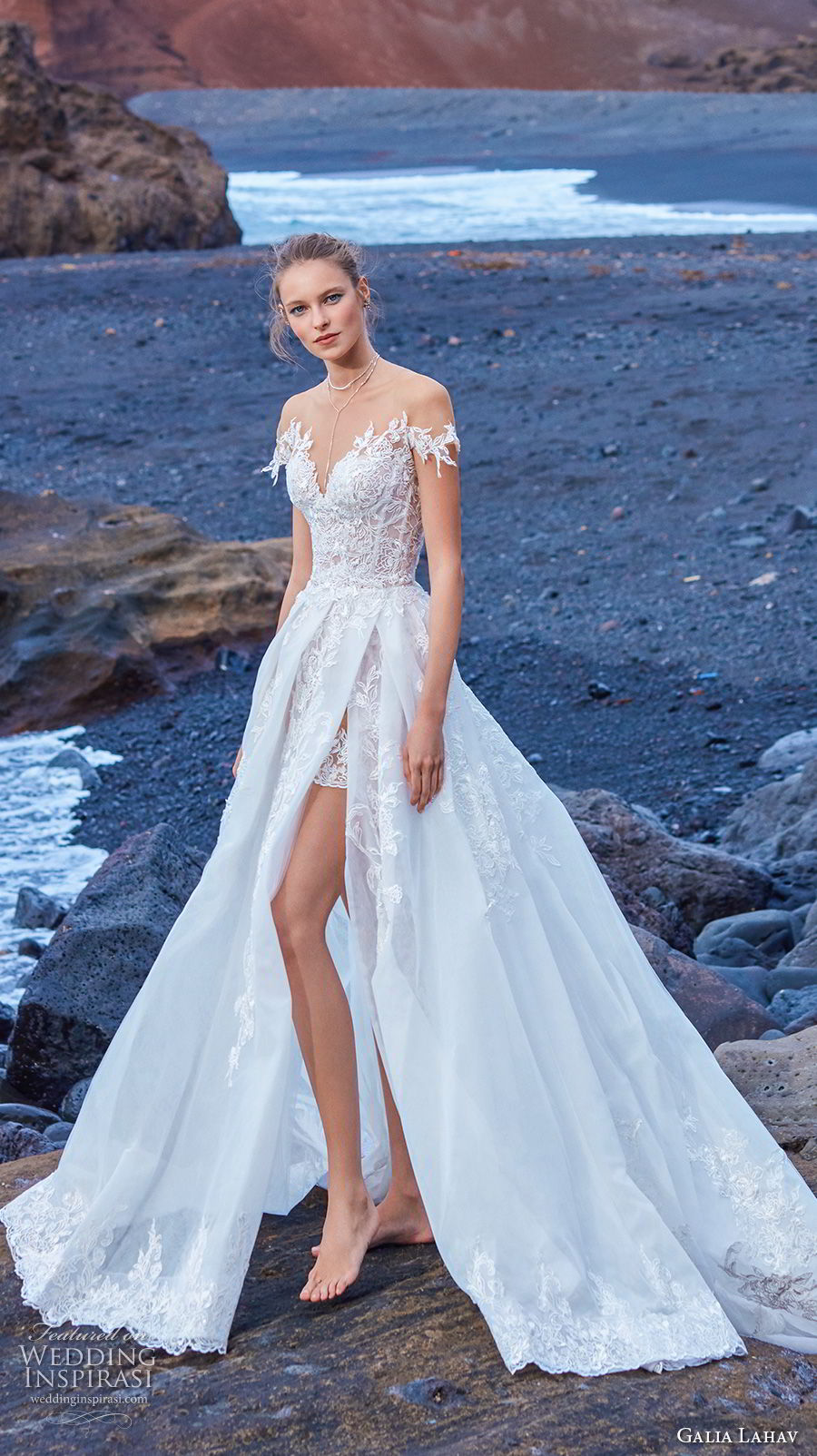 galia lahav gala 2018 bridal off shoulder illusion jewel sweetheart neckline heavily embellished bodice a  line wedding dress overskirt chapel train (9) mv