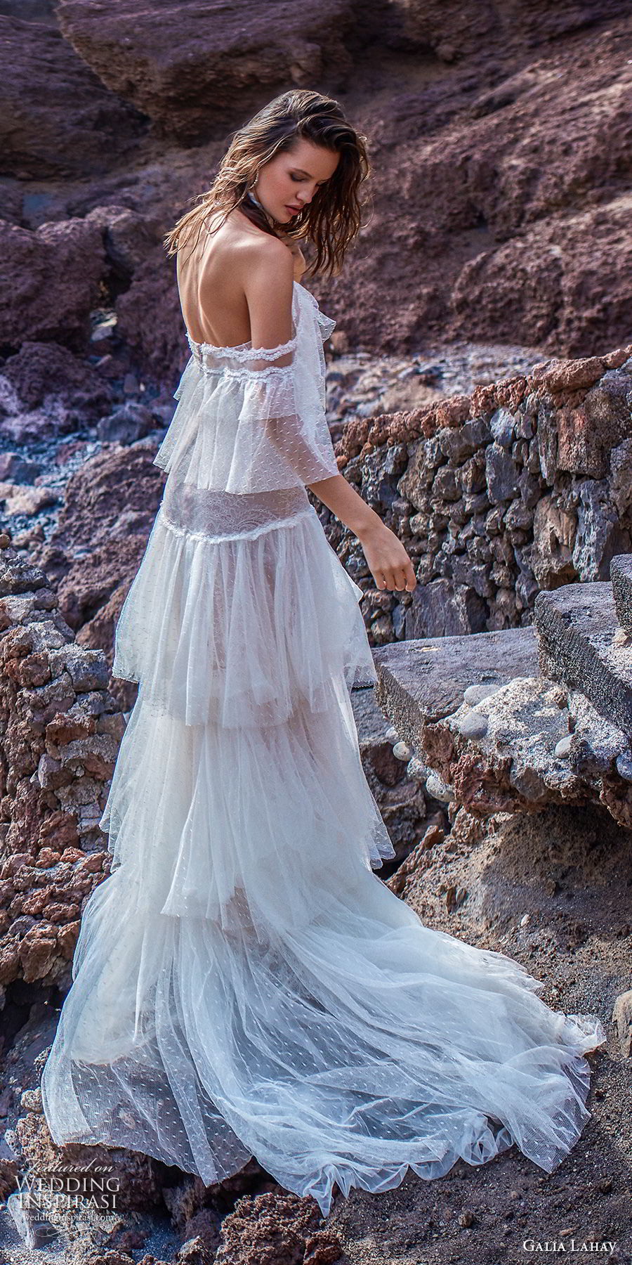 galia lahav gala 2018 bridal off the shoulder halter neck light embellishment bohemian layered skirt modified a  line wedding dress sweep train (12) bv