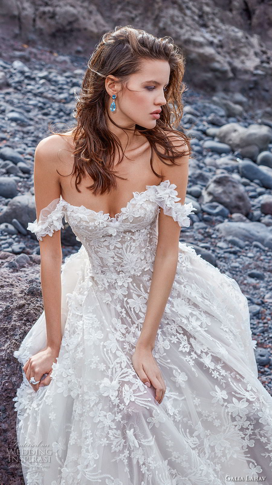 galia lahav gala 2018 bridal off the shoulder sweetheart neckline full embellishment romantic a  line wedding dress chapel train (2) zv