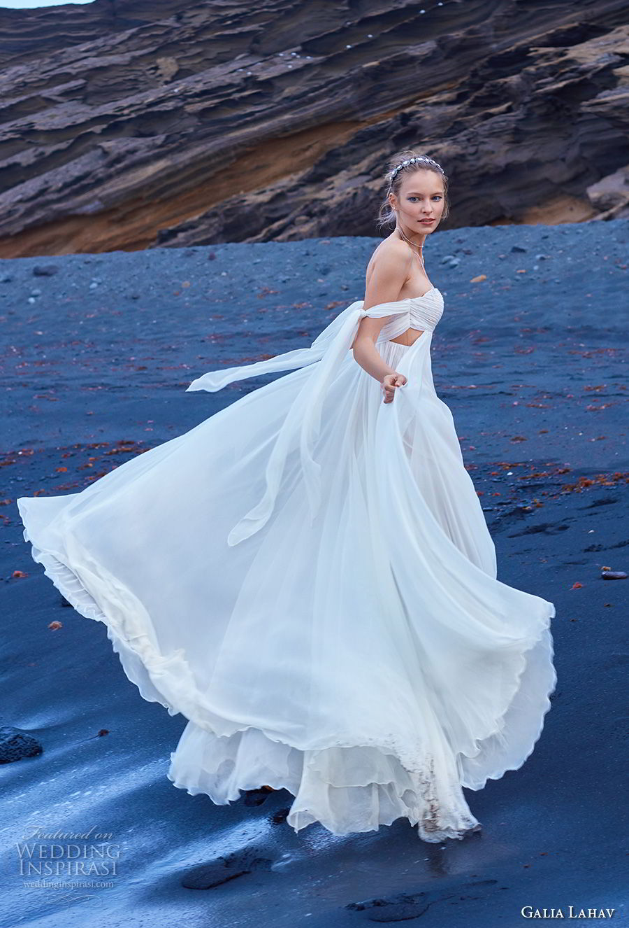 galia lahav gala 2018 bridal off the shoulder sweetheart neckline ruched bodice grecian elegant empire wedding dress chapel train (5) sdv