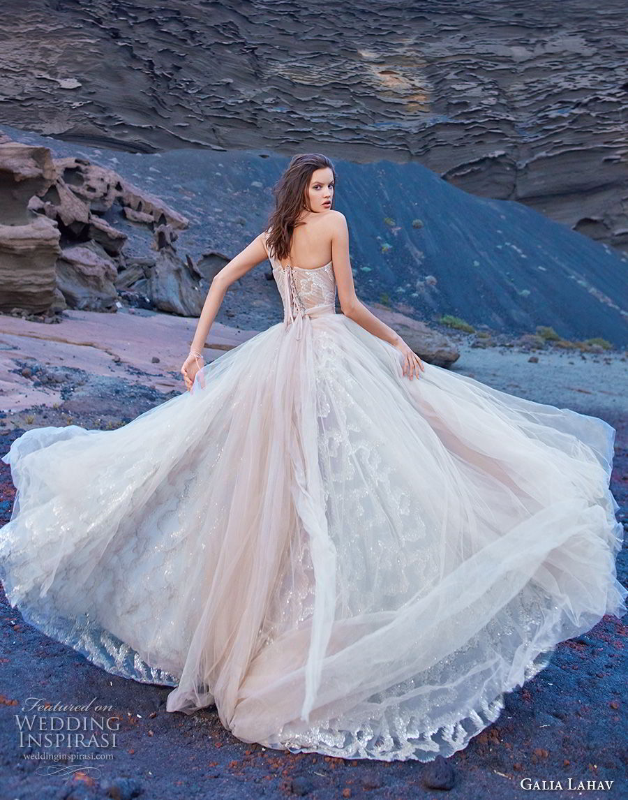 galia lahav gala 2018 bridal one shoulder semi sweetheart neckline ruched bodice romantic blush a  line wedding dress corset back chapel train (7) bv