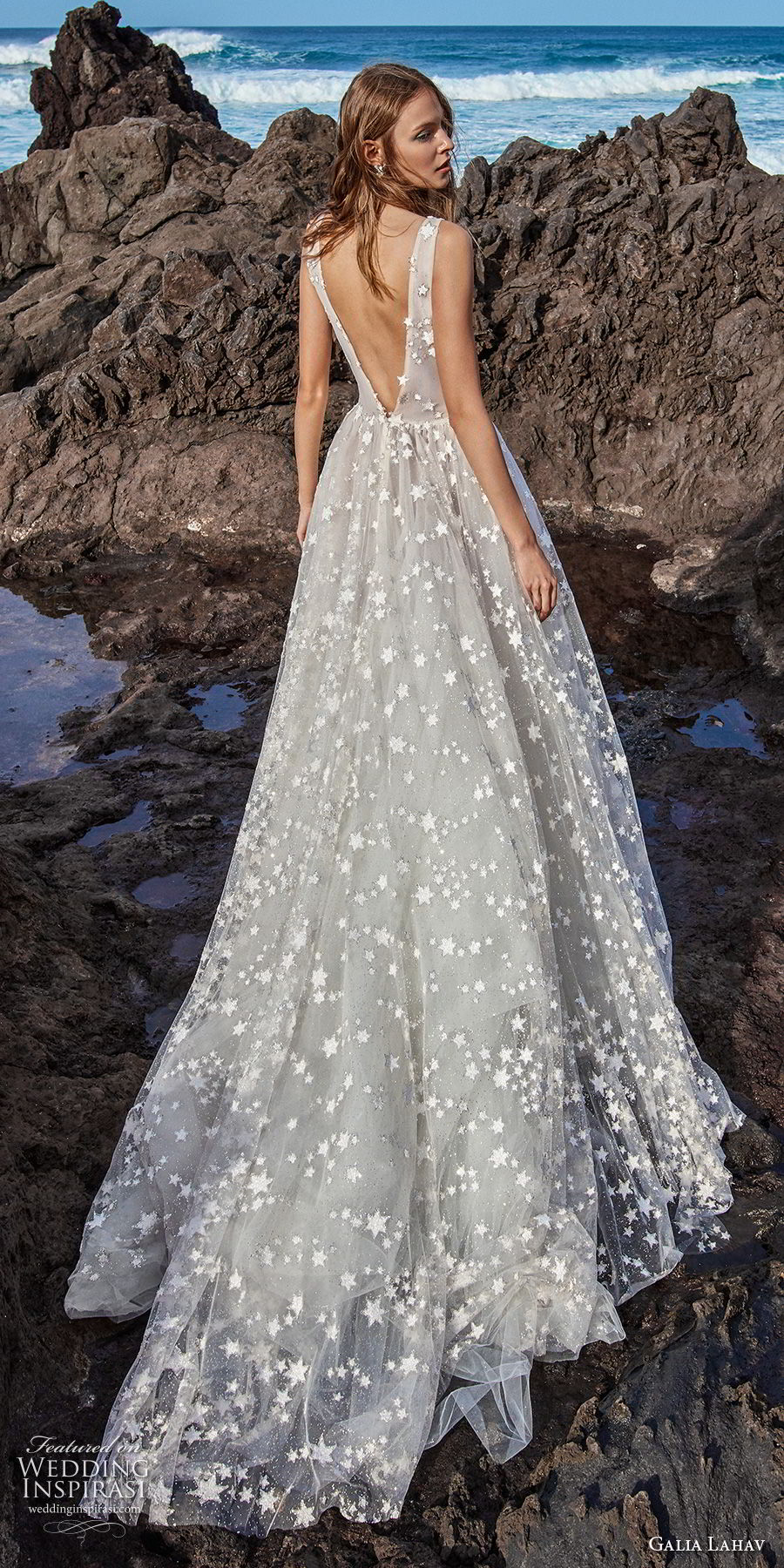 galia lahav gala 2018 bridal sleeveless deep v neck full embellishment romantic a  line wedding dress open v back chapel train (4) bv
