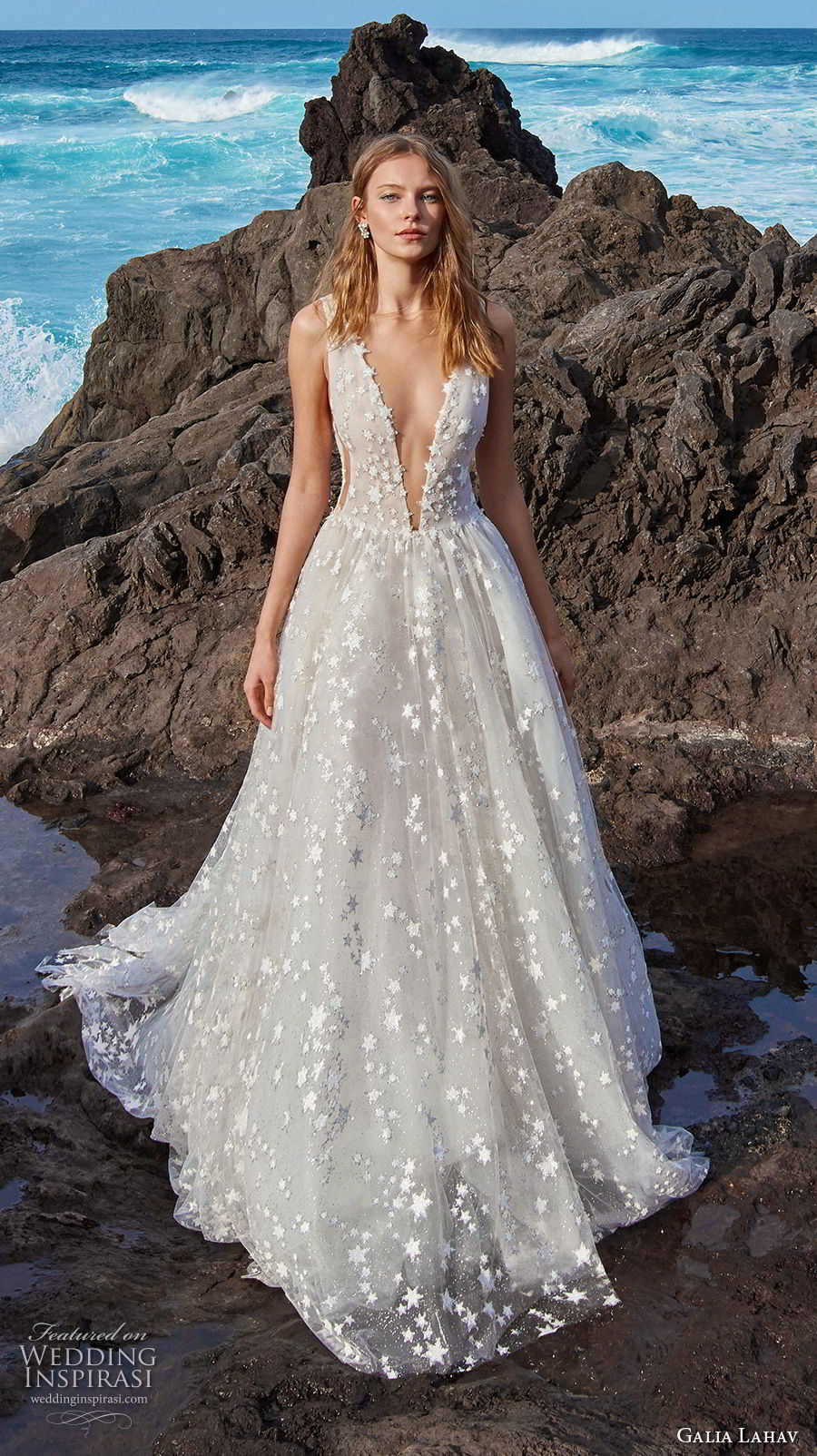 galia lahav gala 2018 bridal sleeveless deep v neck full embellishment romantic a  line wedding dress open v back chapel train (4) mv