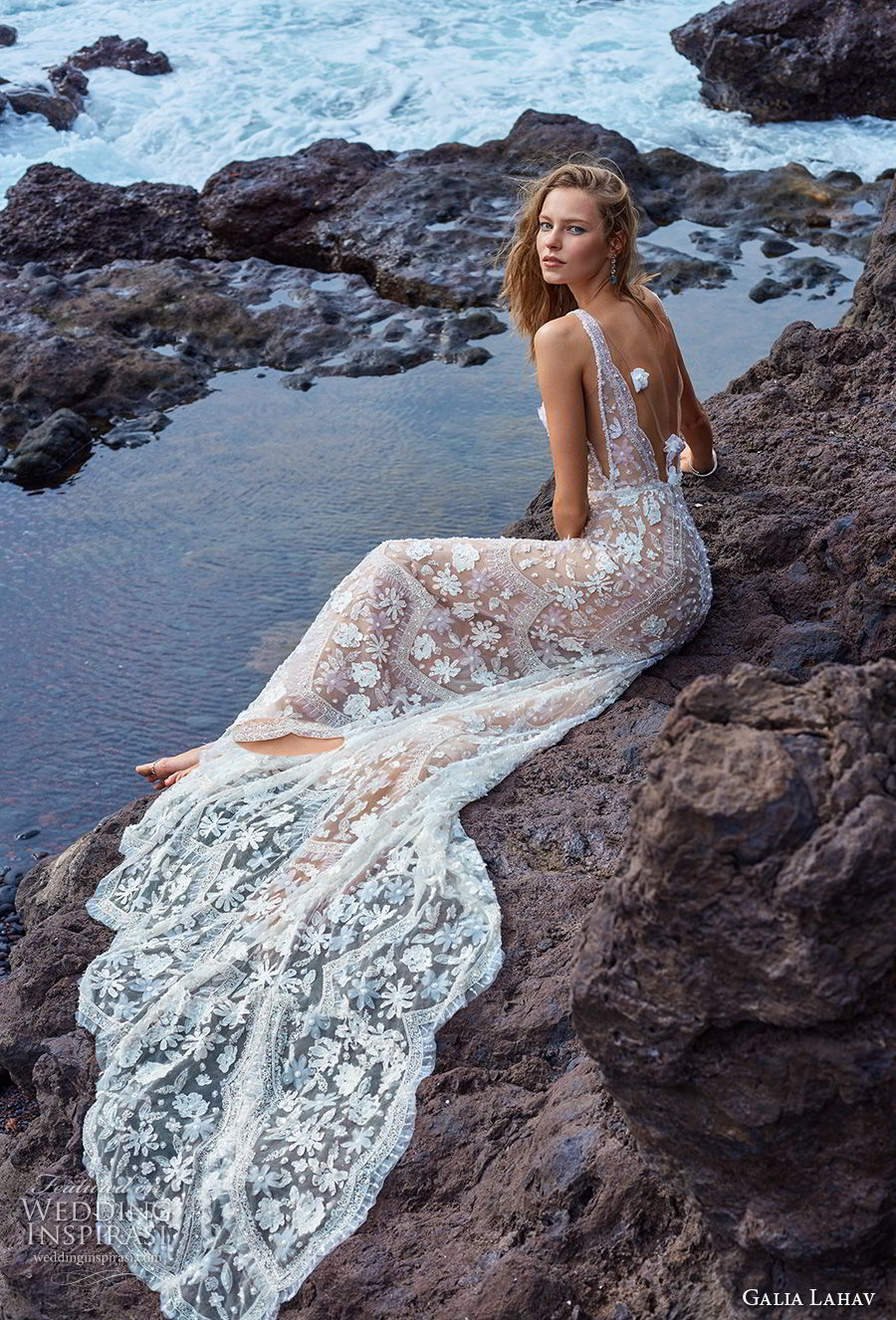 galia lahav gala 2018 bridal sleeveless deep v neck full embellishment romantic bohemian soft a  line wedding dress open v back chapel train (15) bv