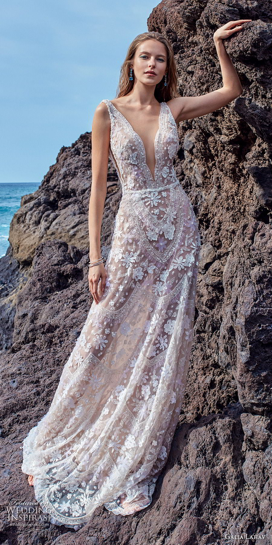 galia lahav gala 2018 bridal sleeveless deep v neck full embellishment romantic bohemian soft a  line wedding dress open v back chapel train (15) mv