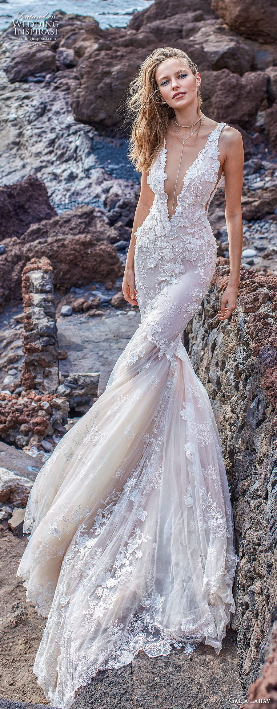galia lahav gala 2018 bridal sleeveless deep v neck heavily embellished bodice open side elegant sexy mermaid wedding dress v back chapel train (3) lv