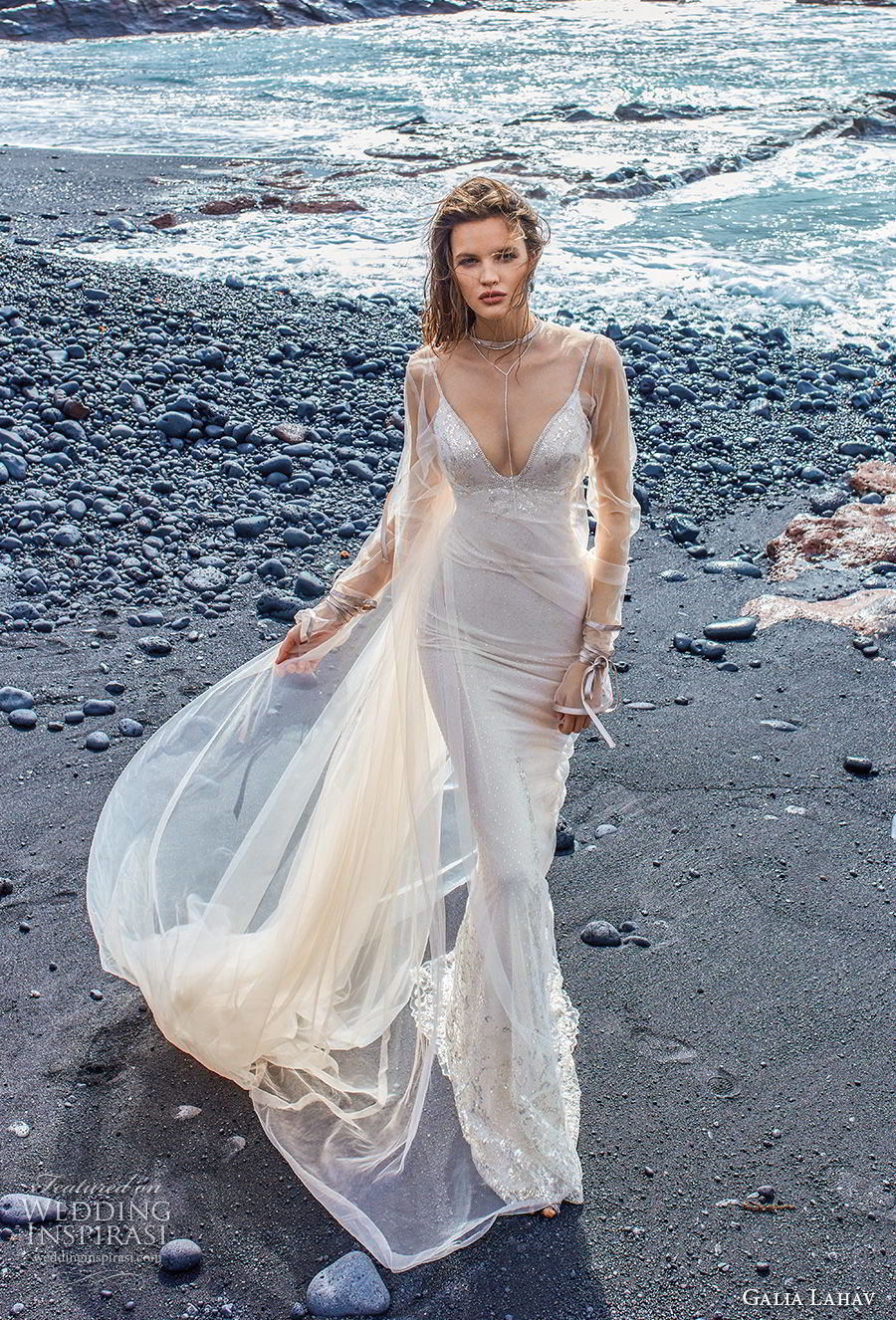 galia lahav gala 2018 bridal sleeveless thin strap v neck heavily embellished bodice elegant sheath wedding dress low scoop back sweep train (14) mv