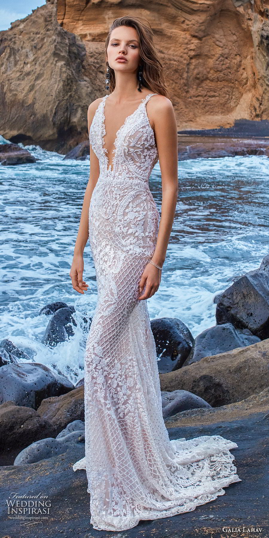 galia lahav gala 2018 bridal sleeveless with strap deep v neck full embellishment elegant fit and flare sheath wedding dress open low back sweep train (13) mv