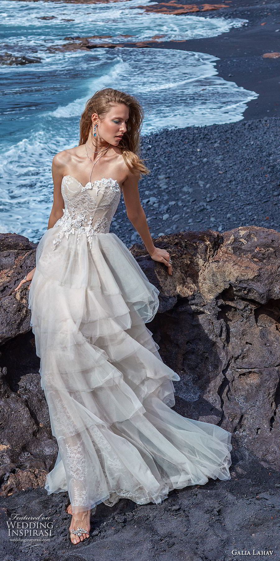 galia lahav gala 2018 bridal strapless sweetheart neckline heavily embellished bodice bustier layered skirt romantic a  line wedding dress open back sweep train (11) mv