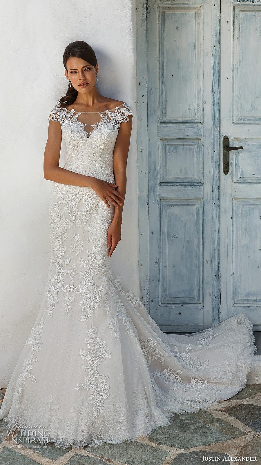 28002d7fc69 justin alexander 2018 bridal cap sleeves illusion off the shoulder sweetheart  neckline full embellishment elegant fit