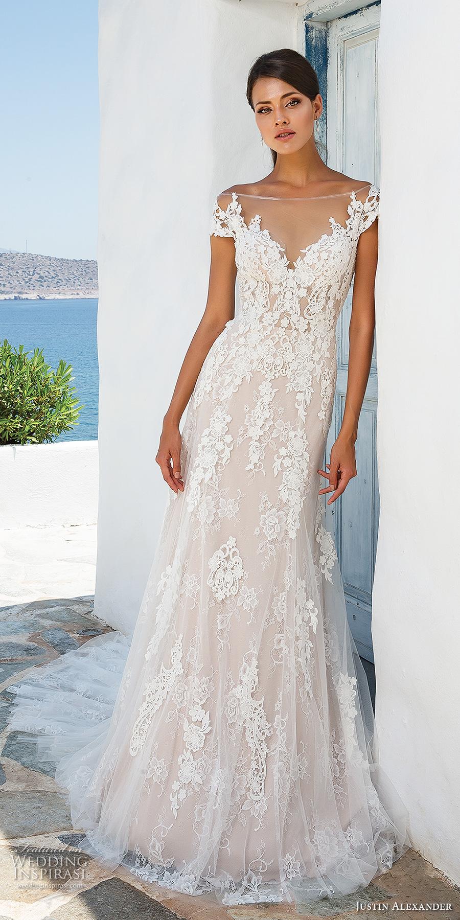 90698a273a4 justin alexander 2018 bridal cap sleeves illusion off the shoulder sweetheart  neckline full embellishment romantic elegant