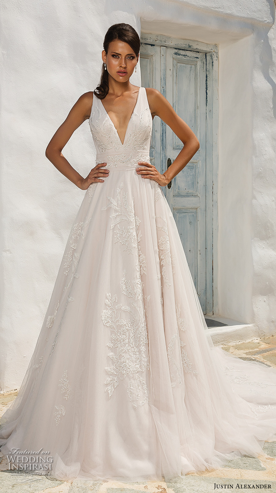 justin alexander 2018 bridal sleeveless deep v neck light embellishment romantic blush a  line wedding dress open v back chapel train (7) mv