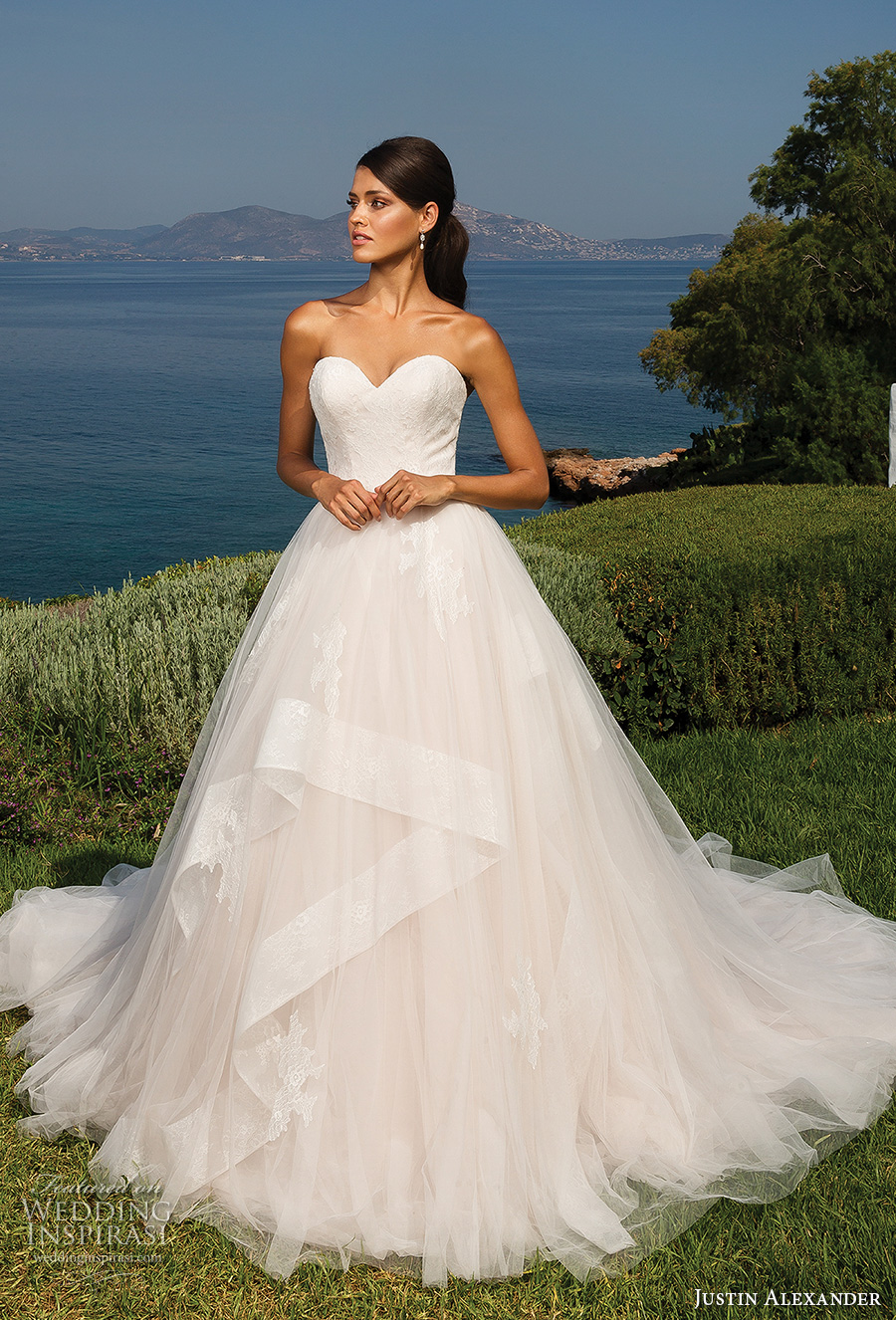 justin alexander 2018 bridal strapless sweetheart neckling lightly embellished bodice romantic blush a  line wedding dress chapel train (6) mv