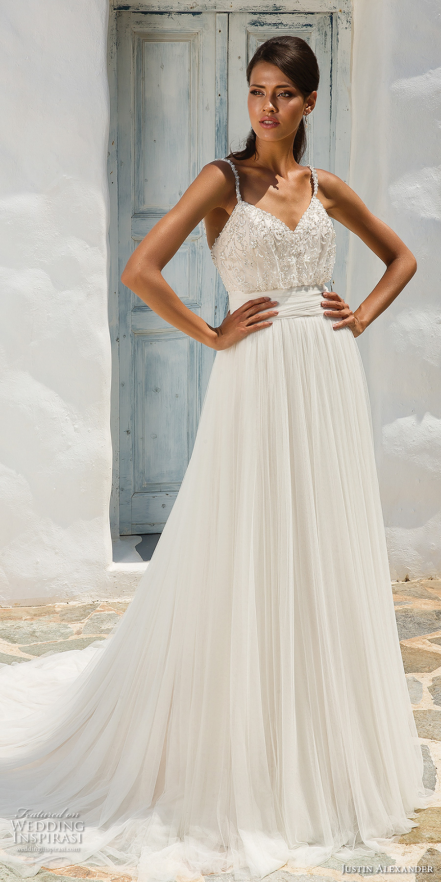 justin alexander 2018 bridal thin strap sweetheart neckline heavily embellished bodice romantic soft a  line wedding dress open v back medium train (8) mv