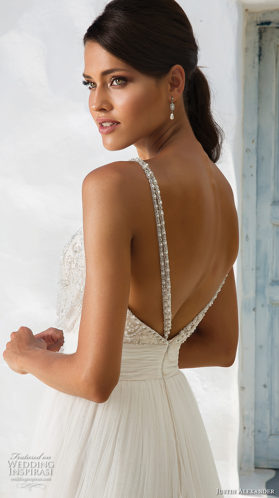 justin alexander 2018 bridal thin strap sweetheart neckline heavily embellished bodice romantic soft a  line wedding dress open v back medium train (8) zbv
