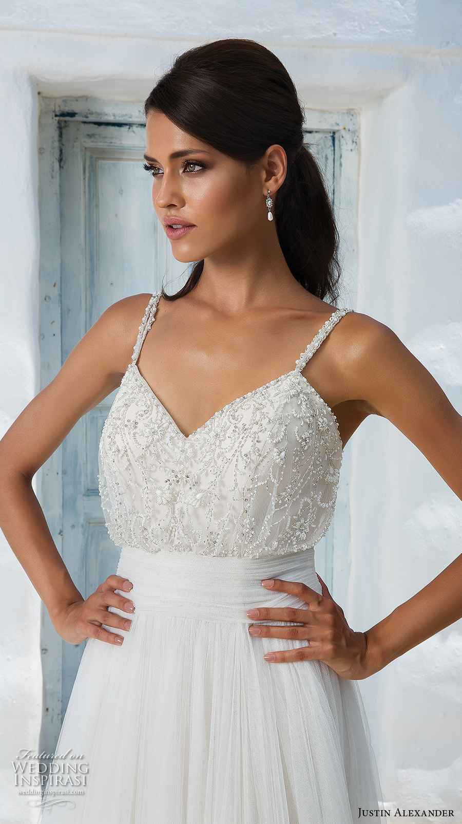 justin alexander 2018 bridal thin strap sweetheart neckline heavily embellished bodice romantic soft a  line wedding dress open v back medium train (8) zv