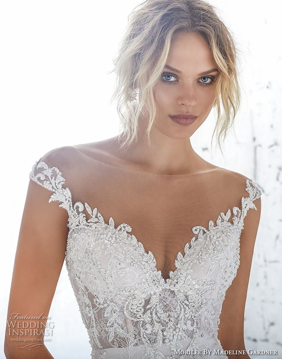 morilee 2018 bridal cap sleeves illusion bateau sweetheart neckline full embellishment elegant fit and flare wedding dress sheer lace back chapel train (6) zv