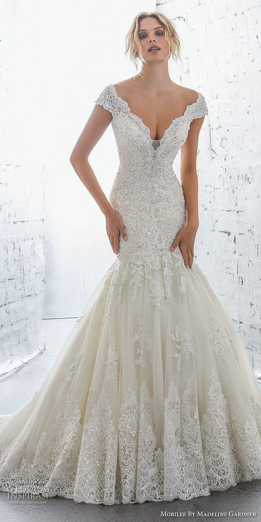 morilee 2018 bridal cap sleeves v neck heavily embellished bodice elegant mermaid wedding dress open v back chapel train (1) mv
