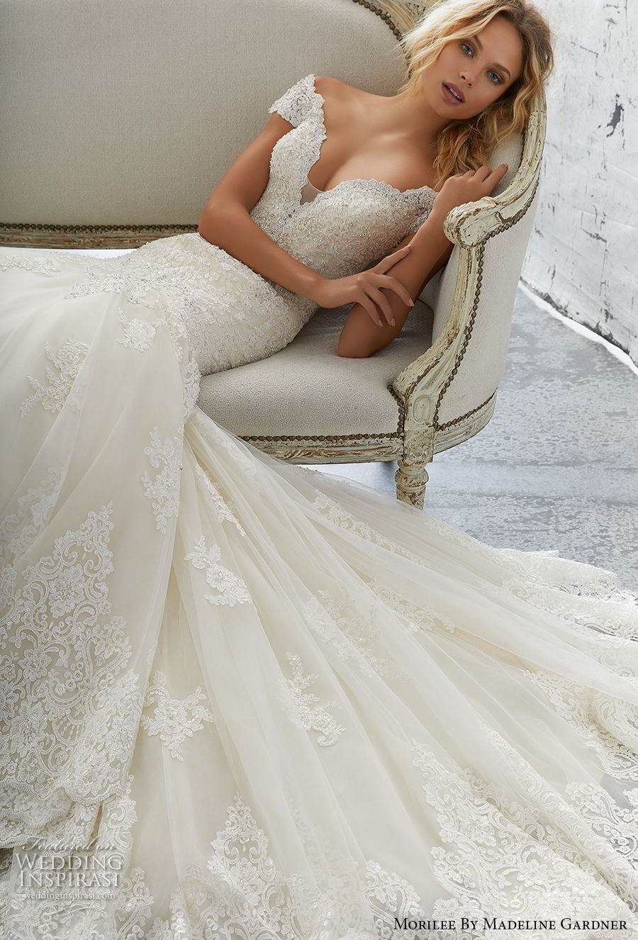 2956d56f59 morilee 2018 bridal cap sleeves v neck heavily embellished bodice elegant  mermaid wedding dress open v
