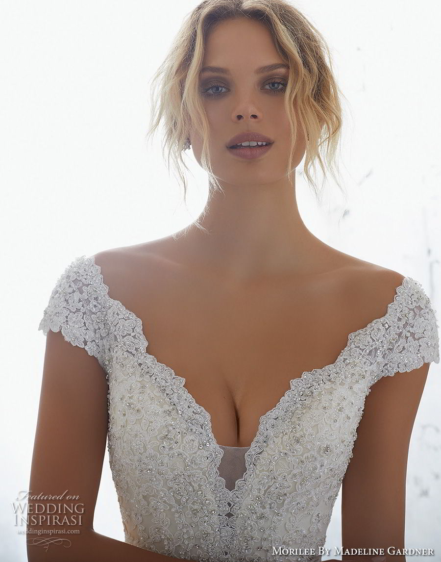 morilee 2018 bridal cap sleeves v neck heavily embellished bodice elegant mermaid wedding dress open v back chapel train (1) zv