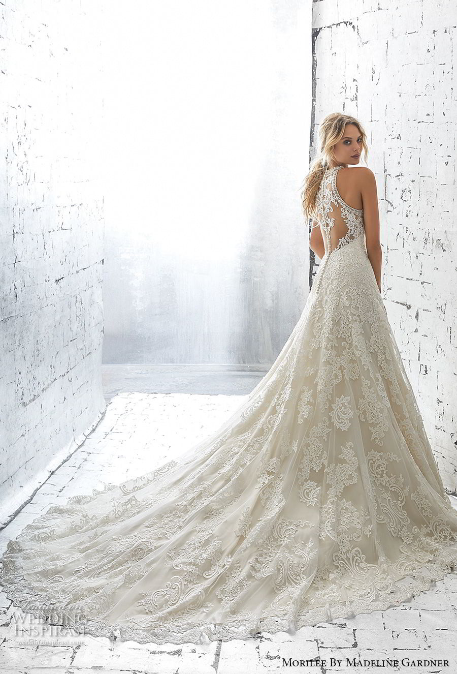 morilee 2018 bridal sleeveless halter jewel neck full embellishment elegant a  line wedding dress sheer lace back long train (3) bv