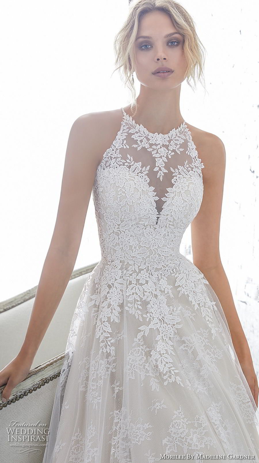 morilee 2018 bridal sleeveless halter jewel neck heavily embellished bodice elegant a  line wedding dress sheer lace back chapel train (7) mv zv