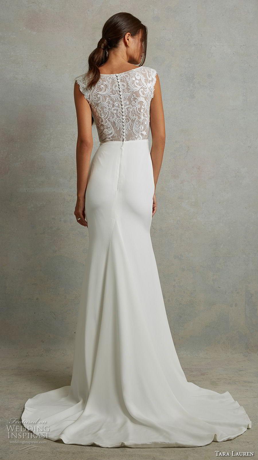 tara lauren spring 2018 bridal cap sleeves bateau neck heavily embellished bodice elegant fit and flare wedding dress covered lace back sweep train (19) bv