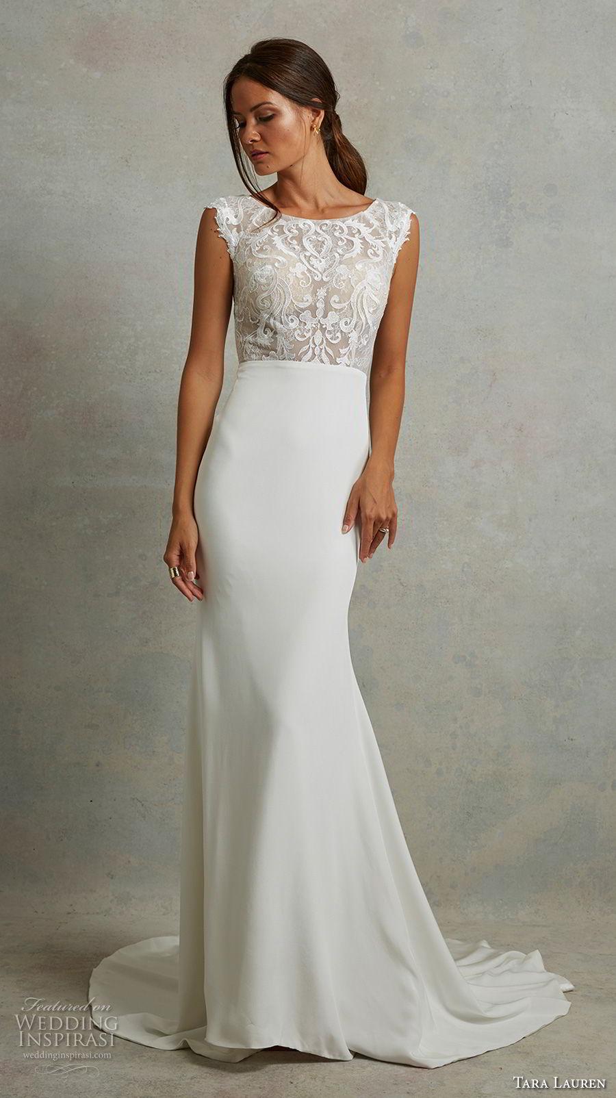 tara lauren spring 2018 bridal cap sleeves bateau neck heavily embellished bodice elegant fit and flare wedding dress covered lace back sweep train (19) mv