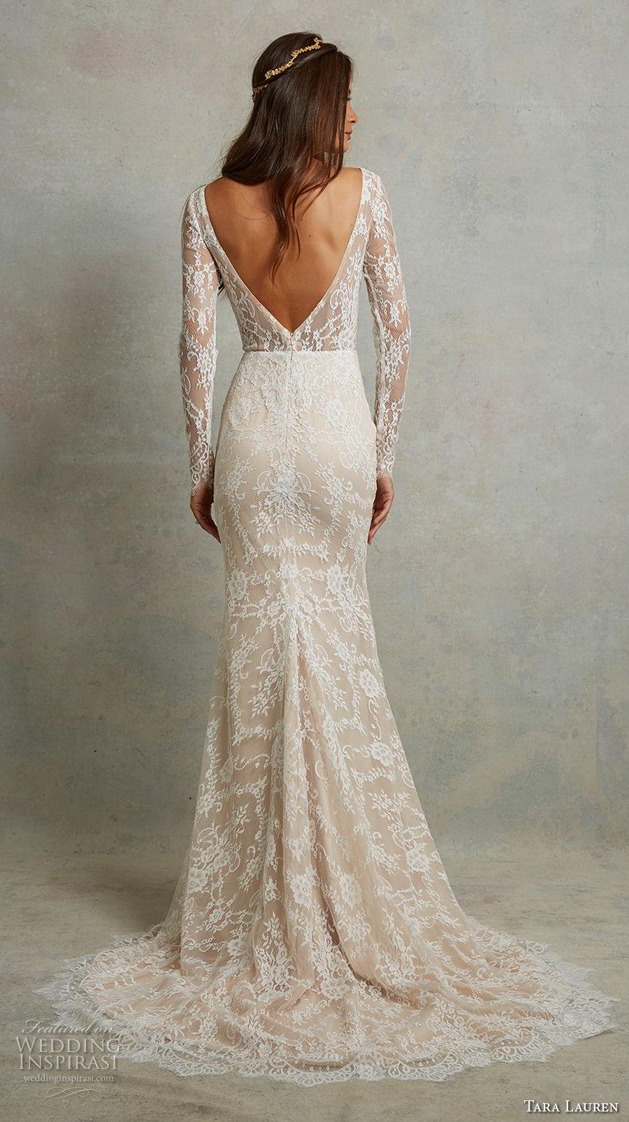 tara lauren spring 2018 bridal long sleeves deep v neck full embellishment elegant fit and flare wedding dress open v back sweep train (1) bv