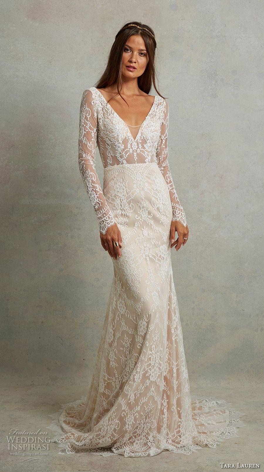 tara lauren spring 2018 bridal long sleeves deep v neck full embellishment elegant fit and flare wedding dress open v back sweep train (1) mv