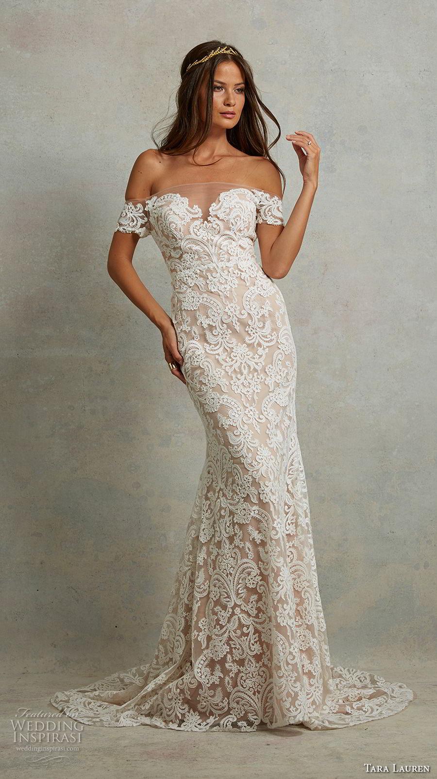 tara lauren spring 2018 bridal off the shoulder sweetheart neckline full embellishment elegant fit and flare wedding dress sheer button back sweep train (11) mv