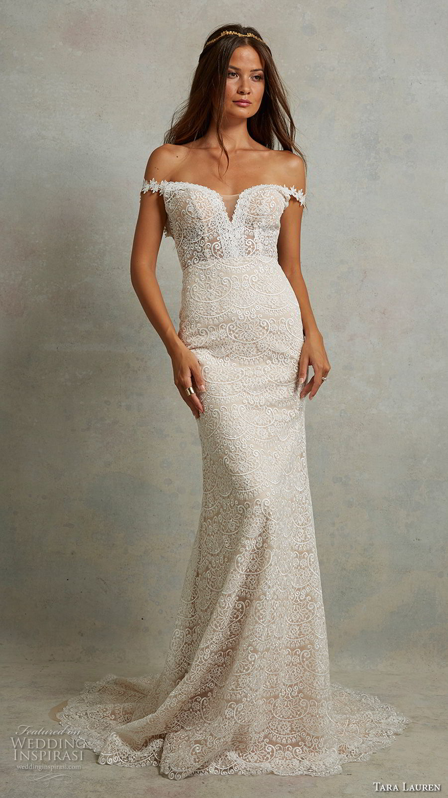 tara lauren spring 2018 bridal off the shoulder sweetheart neckline full embellishment elegant romantic fit and flare wedding dress open v back sweep train (4) mv
