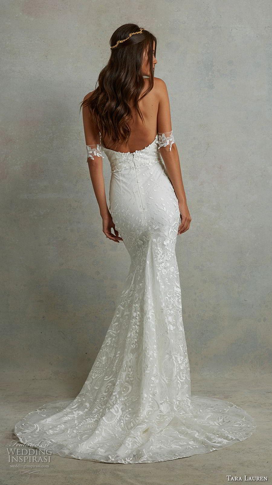 tara lauren spring 2018 bridal off the shoulder sweetheart neckline full embellishment elegant romantic sheath wedding dress open back sweep train (8) bv