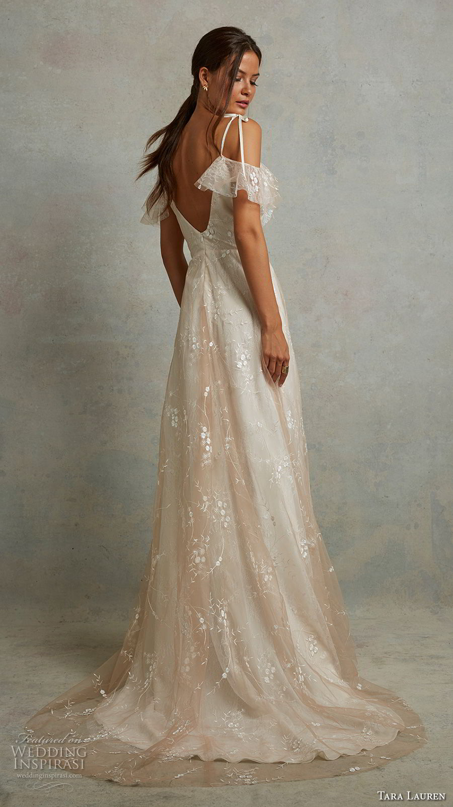 tara lauren spring 2018 bridal off the shoulder thin strap sweetheart neckline light embellishment romantic champagne a  line wedding dress v back sweep train (20) bv