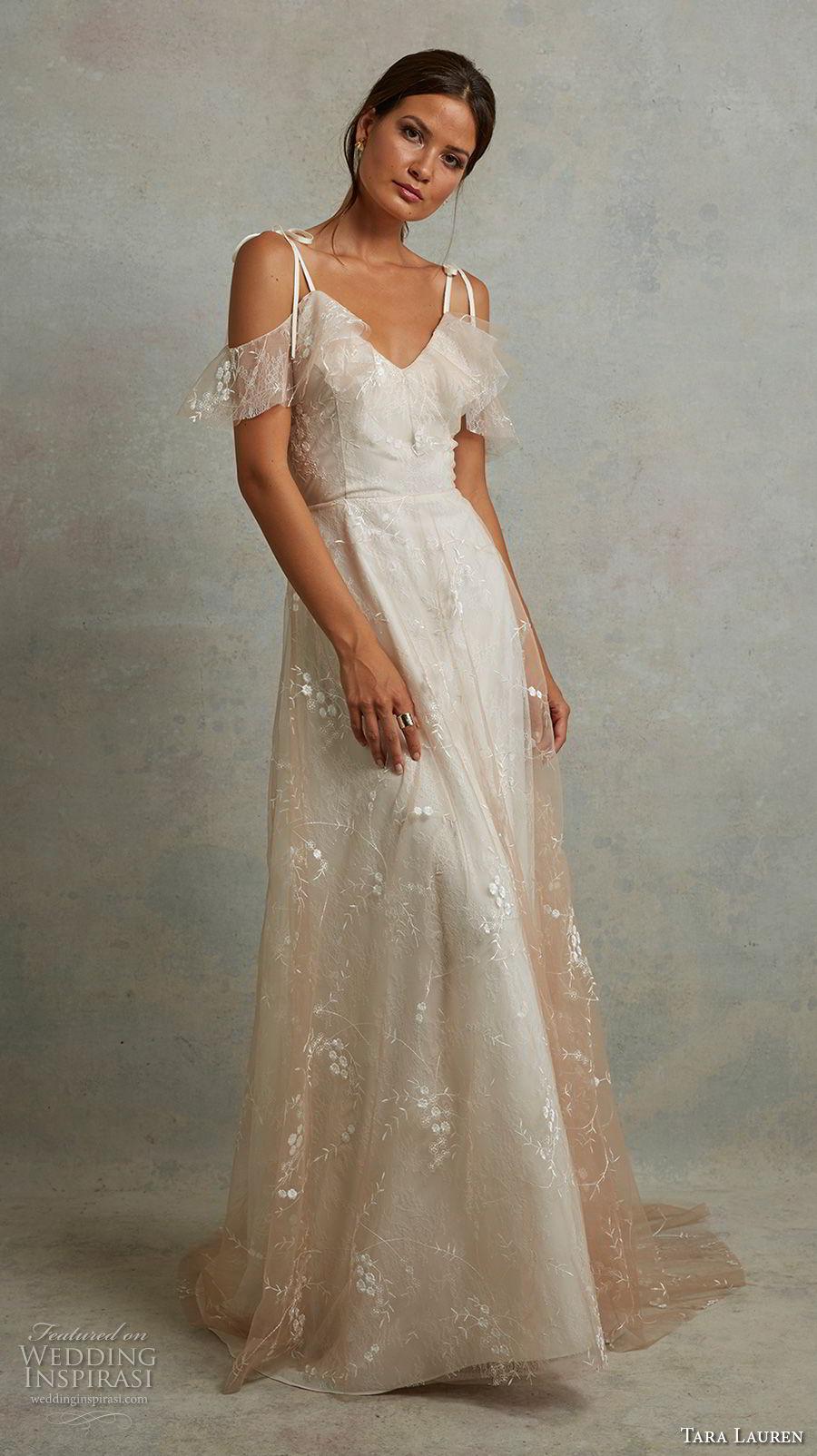tara lauren spring 2018 bridal off the shoulder thin strap sweetheart neckline light embellishment romantic champagne a  line wedding dress v back sweep train (20) mv