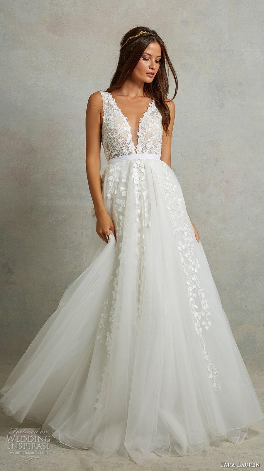 tara lauren spring 2018 bridal sleeveless deep plunging v neck heavily embellished bodice romantic a  line wedding dress v back chapel train (5) mv