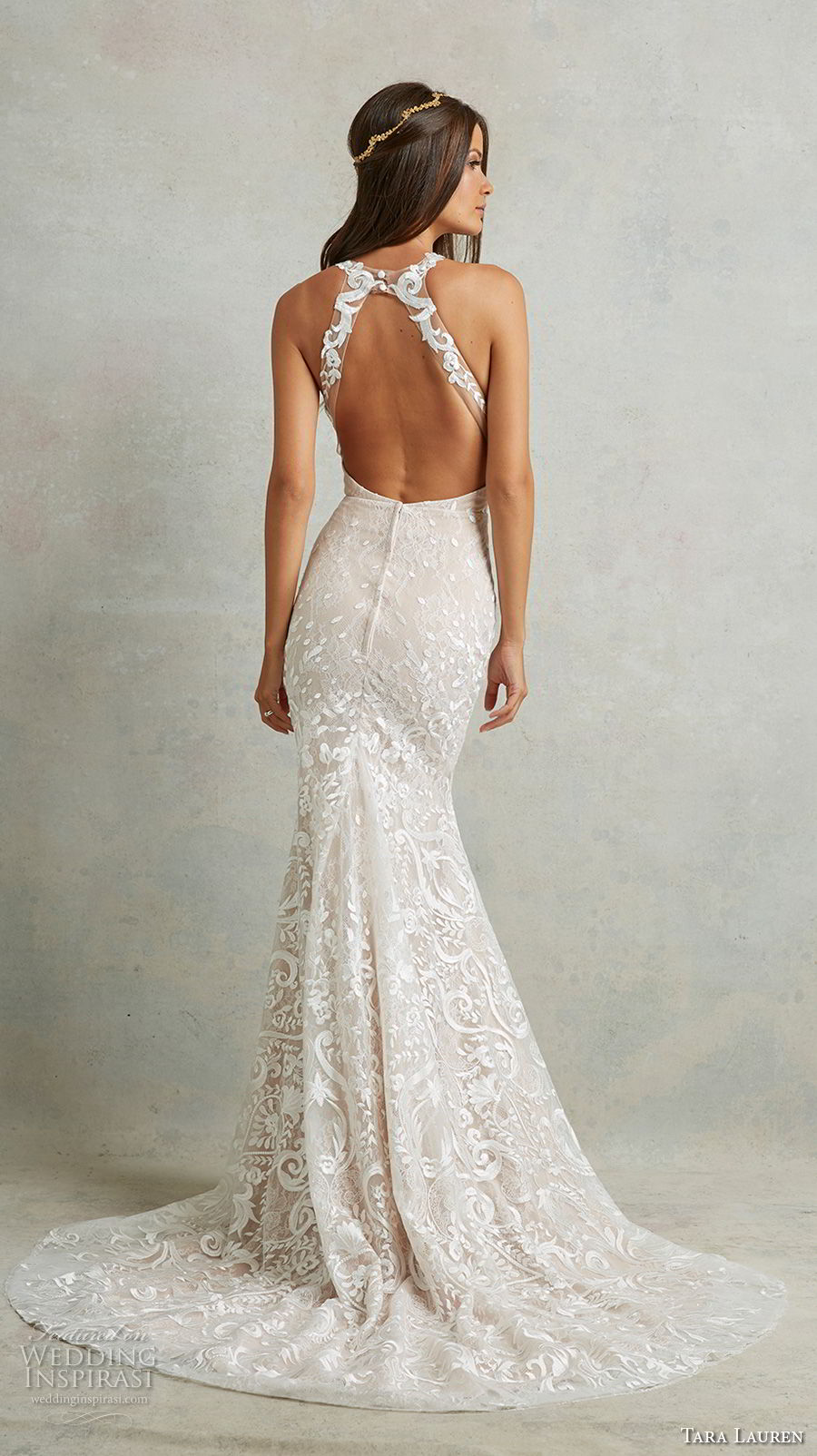 tara lauren spring 2018 bridal sleeveless halter neck full embellishgment elegant fit and flare wedding dress keyhole back sweep train (13) bv