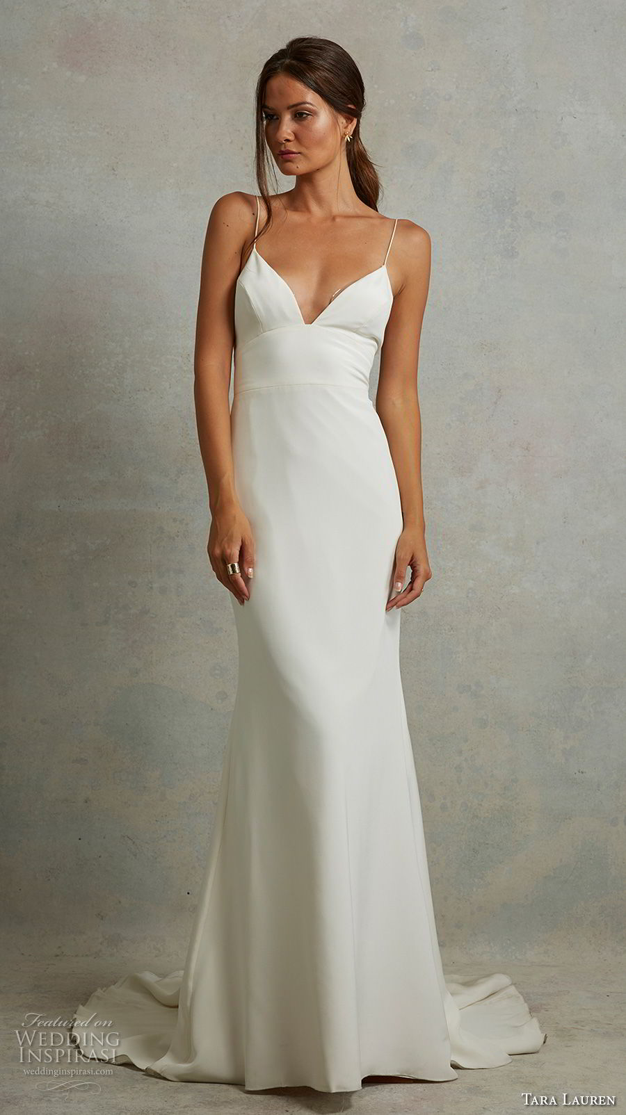 tara lauren spring 2018 bridal sleeveless spaghetti strap deep sweetheart neckline clean simple sexy sheath wedding dress sweep train (18) mv