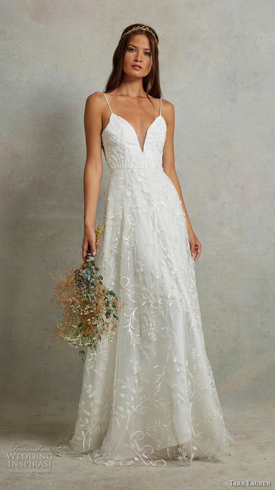 tara lauren spring 2018 bridal sleeveless spaghetti strap deep sweetheart neckline full embellishment romantic a  line wedding dress open back sweep train (9) mv