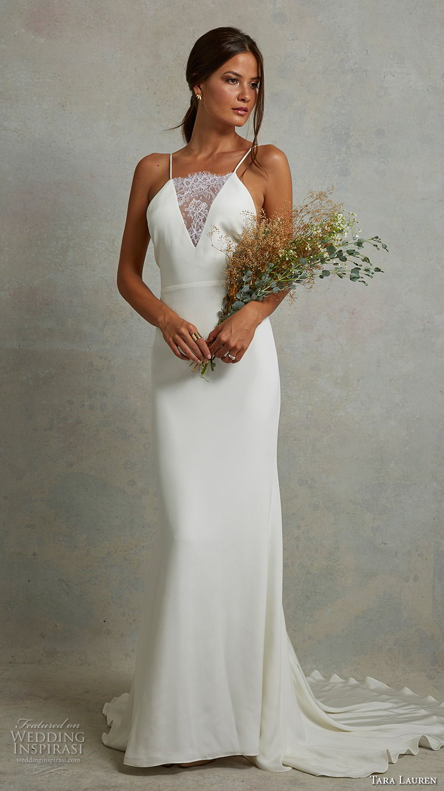 tara lauren spring 2018 bridal sleeveless spaghetti strap illusion v neck simple clean elegant sheath wedding dress open back sweep train (3) mv