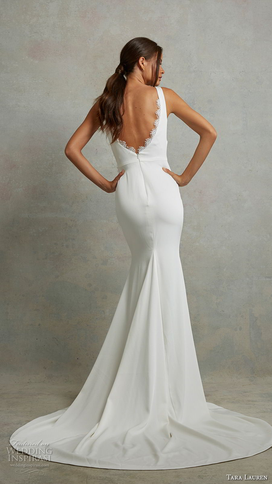 tara lauren spring 2018 bridal sleeveless v neck simple clean elegant fit and flare wedding dress open v back short train (2) bv