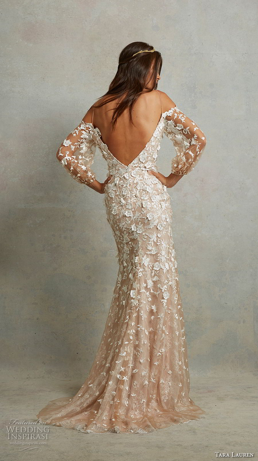tara lauren spring 2018 bridal spaghetti strap long bishop sleeves sweetheart neckline full embellishment elegant champagne fit and flare wedding dress v back sweep train (10) bv