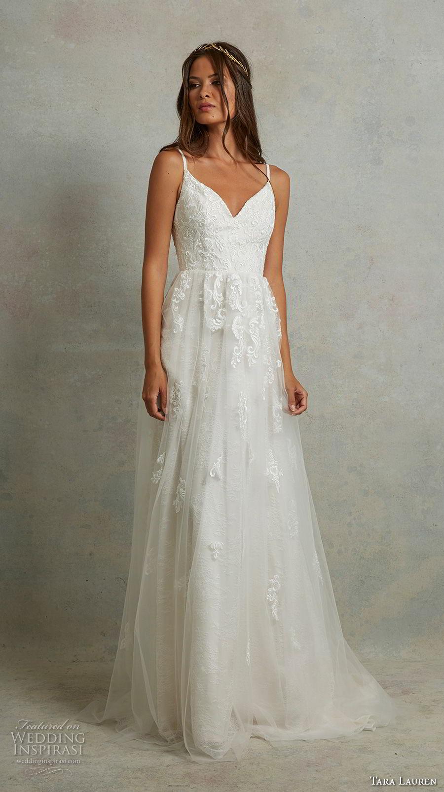 tara lauren spring 2018 bridal thin strap sweetheart neckline heavily embellished bodice romantic soft a  line wedding dress v back sweep train (15) mv