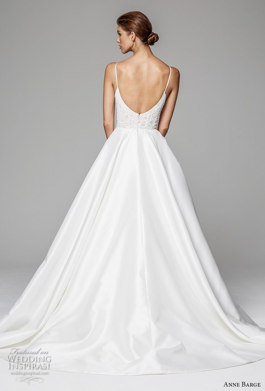 anne barge fall 2018 bridal sleeveless spaghetii sweetheart neckline heavily embellished bodice romantic princess a  line wedding dress open back sweep train (10) bv