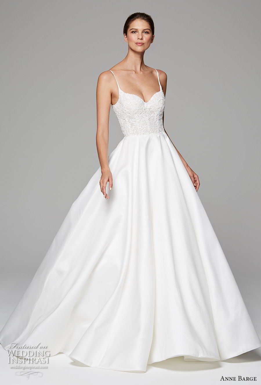 anne barge fall 2018 bridal sleeveless spaghetii sweetheart neckline heavily embellished bodice romantic princess a  line wedding dress open back sweep train (10) mv