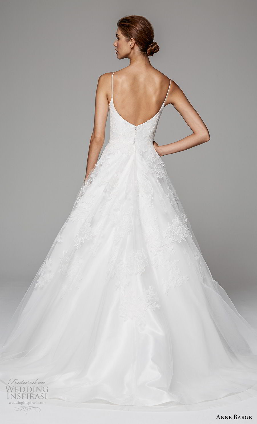 anne barge fall 2018 bridal sleeveless spaghetti strap sweetheart neckline lightly embellished bodice romantic a  line wedding dress scoop back sweep train (7) bv