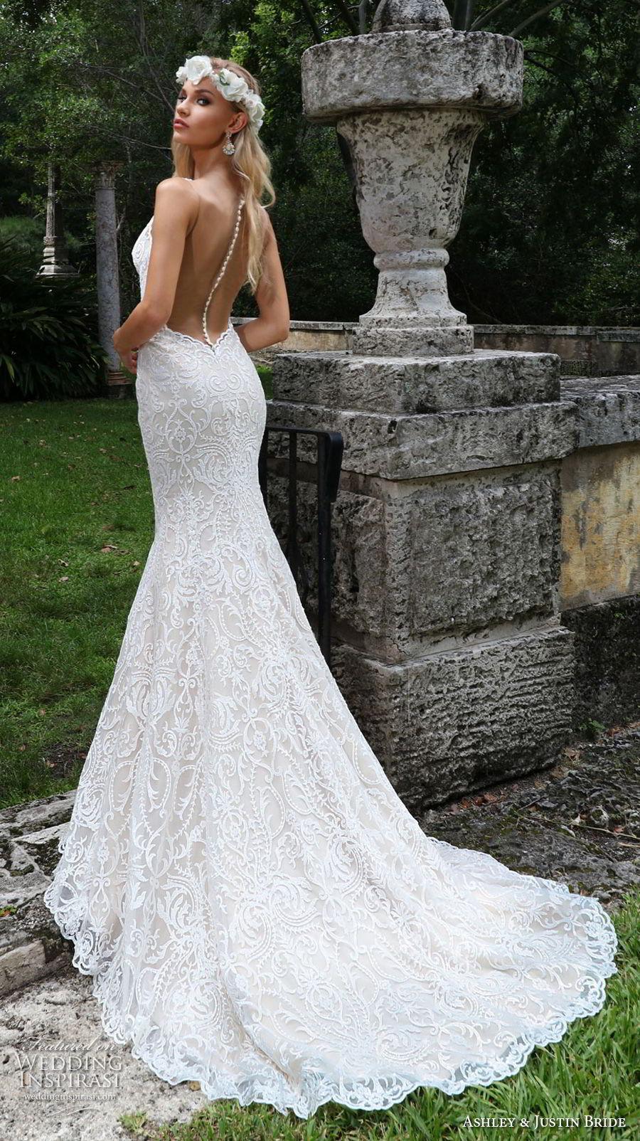 ashley justin spring 2018 bridal cap sleeves bateau neckline full embellishment elegant fit and flare wedding dress sheer button back chapel train (9) bv